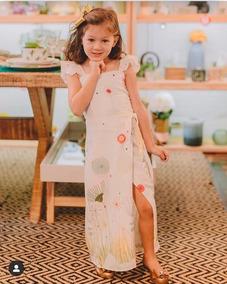 Vestido Longo Infantil Roupa De Menina Festa Crepe Estampado