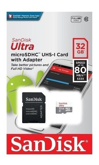 Micro Sd Ultra 32gb Classe10 80mbs Sandisk Original Lacrado