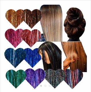 Extensiones De Brillos, Glitter Hair Tinsel 20 Hilos 90 Cm