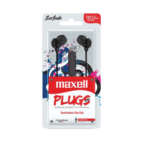 Fone De Ouvido Com Microfone Earbuds Stereo Preto Maxell