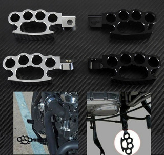 Posapies Nudillos Boxer Metal Moto Universal Negro O Cromo