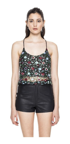 Top Flakes Floreado Musculosa Poliester Mujer Complot