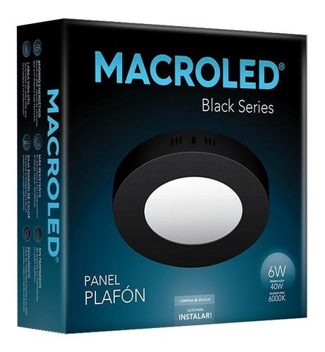 Macroled Panel Plafón Redondo Led 6w Frío Black Npr06