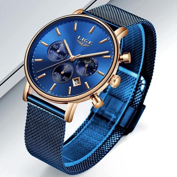 Relógio Original Malha De Aço Lige Lg-9894 Pronta Entrega