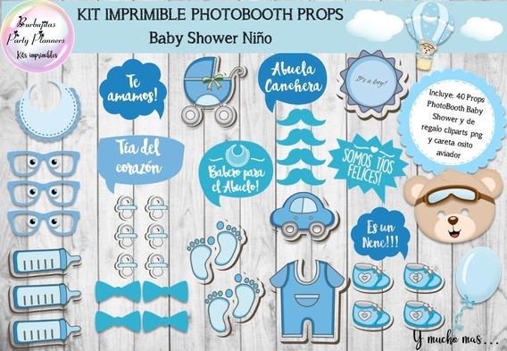 Baby Shower Niño Varon Celeste Photo Booth Props