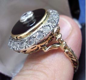 Antigo Anel** Diamantes Em Ouro Maciço !!