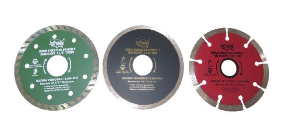 Discos Diamante Para Cortadora Y Esmeriladora Corte De Azulejo Concreto Piedra 4 1/2