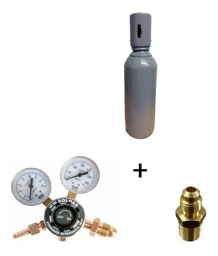 Imagem 1 de 9 de Cilindro De Nitrogenio 1m3 7lts + Regulador +adaptador Manif