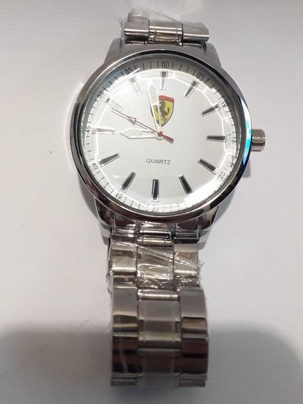 Relógio Ferrari Prata E Fundo Branco Masculino De Pulso