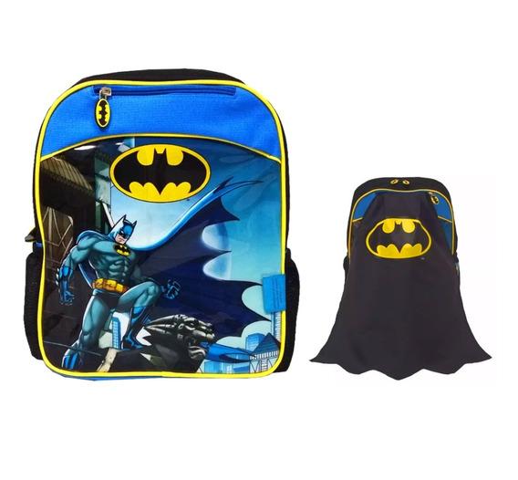 Mochila De Espalda Batman Escolar Jardin Con Capa 12