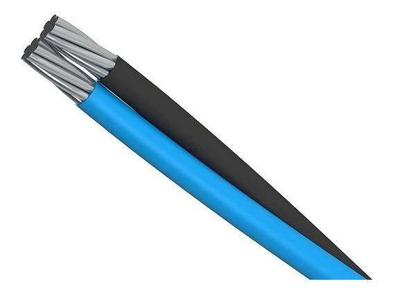 300 Metros Cabo De Aluminio Duplex 2x16 Mm Com O Neutro Isolado , Ou Seja Fase Encapada Preta + 1 Neutro Isolado Azul