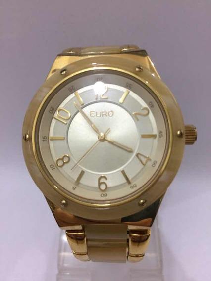 Relógio Analógico Euro Dourado