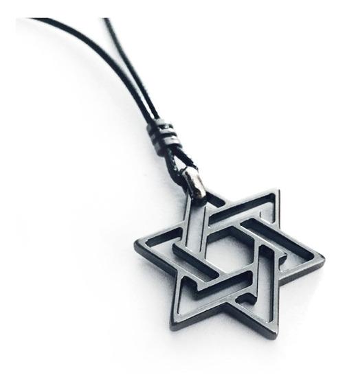 Cordão Ajustável Masculino Estrela De Davi Colar Proteção