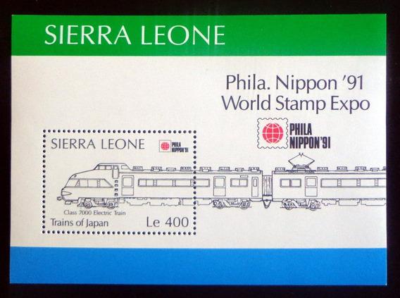 Sierra Leona Trenes, Bloque Sc. 1352 Japón 91 Mint L8730