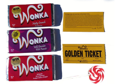 Imagen 1 de 10 de Chocolate Wonka Souvenir Regalo Surtido X 4 +paleta Y Golden