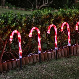 Adorno Decoracion Navidad 10 Estacas Caramelos Iluminados Ex