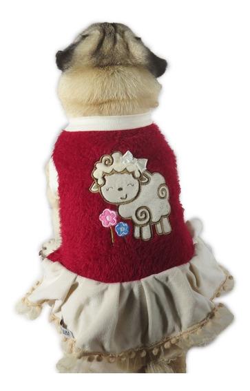 Vestido De Cachorro/ Gato Inverno Frio Ovelhinha Vermelha