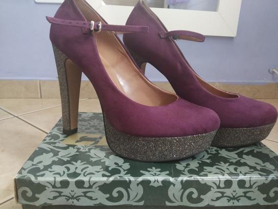 Sapato Meia Pata Salto Alto Com Glitter Roxo Tam 39 - Colcci