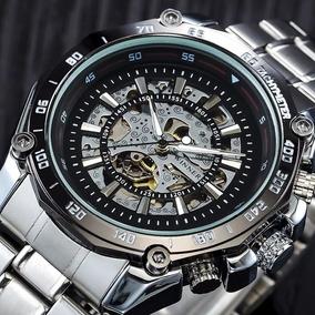Relógios Winner Mecânico Esqueleto De Aço