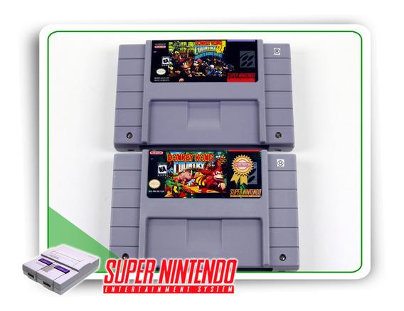 Lote 2 Jogos Originais Super Nintendo Snes Dk1 Dk2 - 037