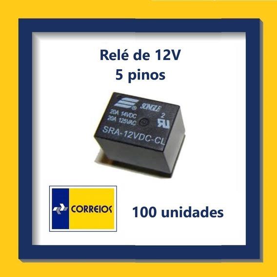 Relé De 12v - 5 Pinos - Kit Com 100 Unidades