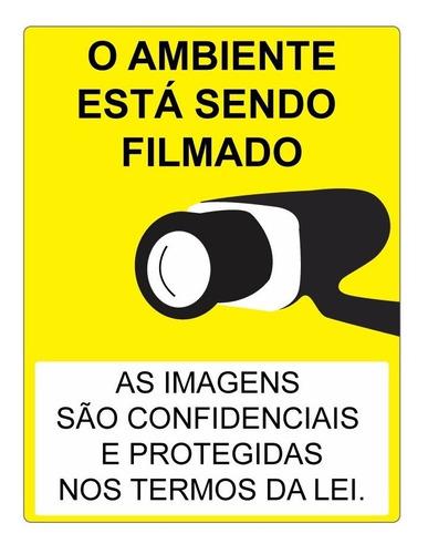 Placa Indicativa Aviso Ambiente Está Sendo Filmado 15x20