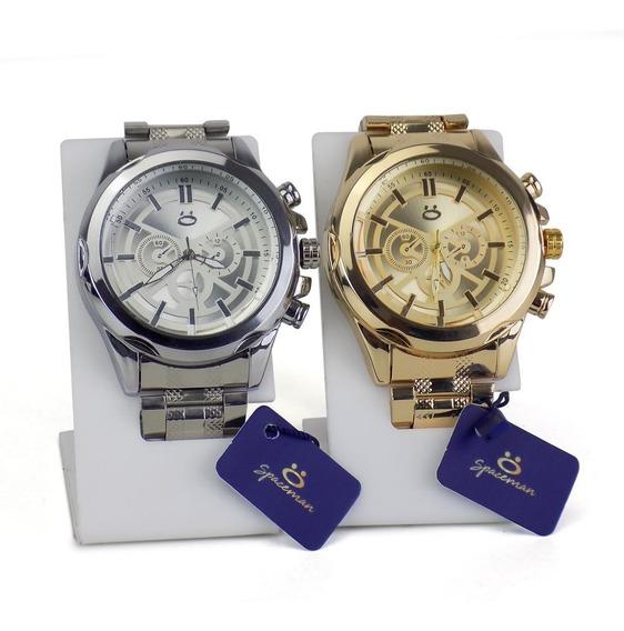 Kit Com 2 Relógios Masculino Orizom Originais Dourado Prata