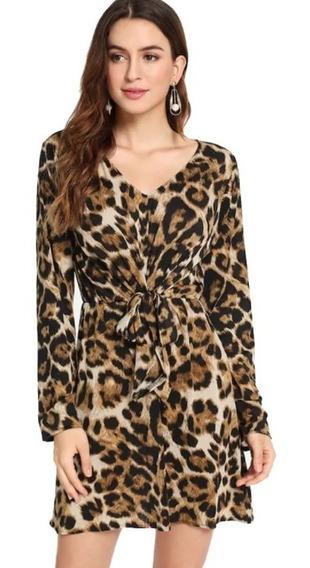 Frente Nó Leopard Impresso Vestido Casual Para Senhora