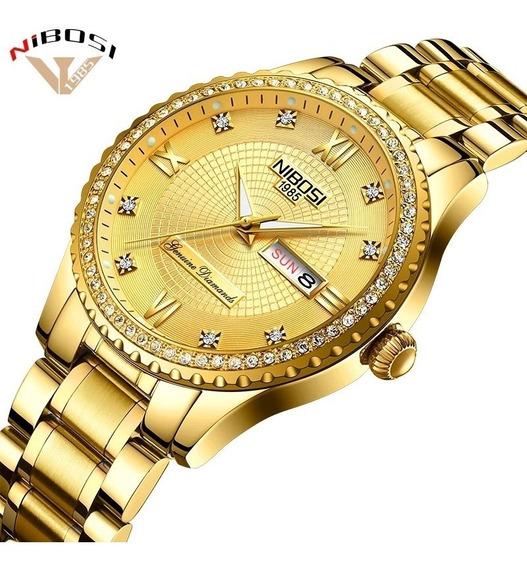 Relógio Luxo Nibosi Original Mulher Feminino Dourado 2357