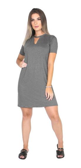 Vestido Feminino Decote Chocker Longline Camisão Moda 289