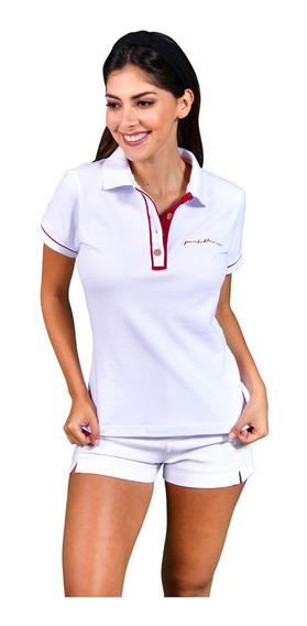 Blusa Polo Mujer Casual Porto Blanco Blanca Lisa Dp-950