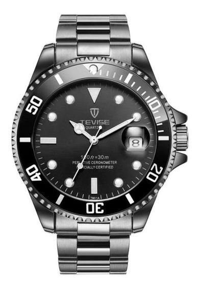 Relógio Masculino Tevise T801 Preto Automático Função Data
