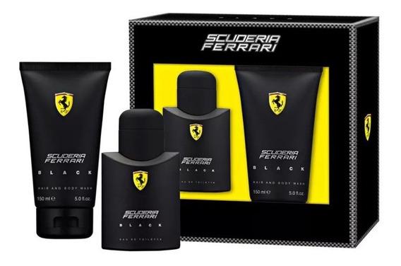 Kit Scuderia Ferrari Black Edt 75ml + Gel De Banho 150ml