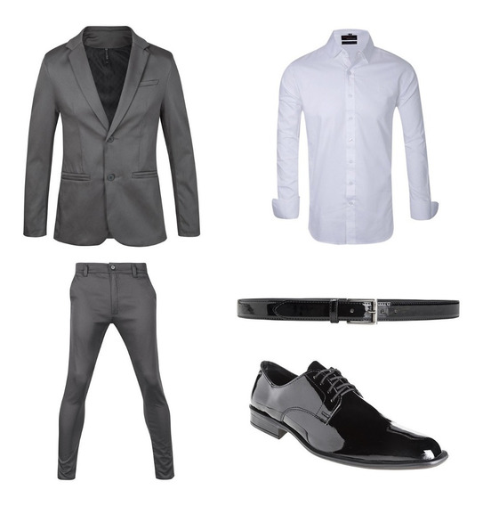 Chupines De Vestir Hombre Con Saco Camisa Zapato Y Cinto Import