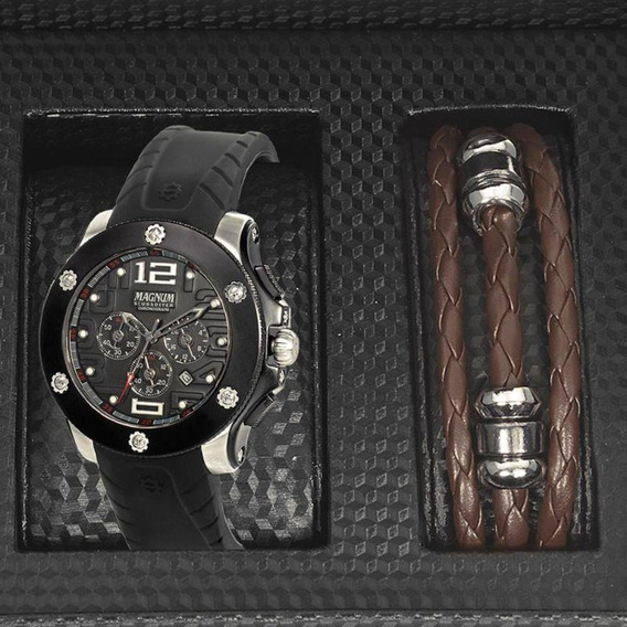 Relógio Magnum Kit Masculino Brinde Pulseira Ma30856c