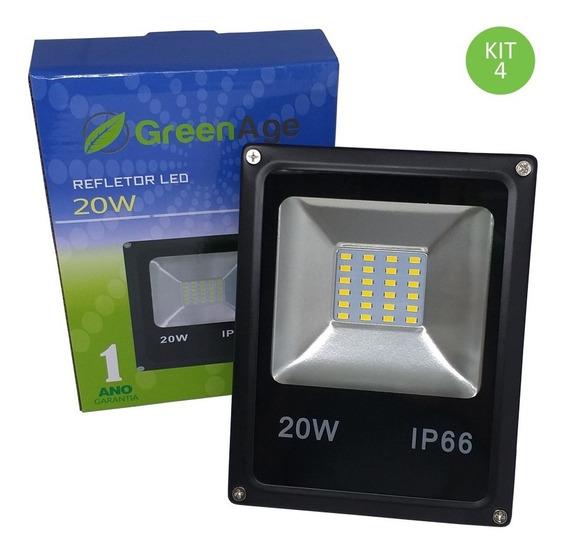 Refletor Led Smd 20w Branco Quente Ip66 Bivolt Kit 4