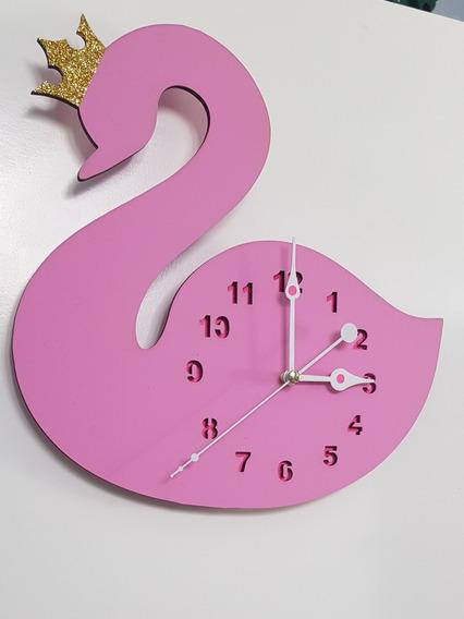 Reloj De Pared Niños Bebe Decoracion Forma De Cisne