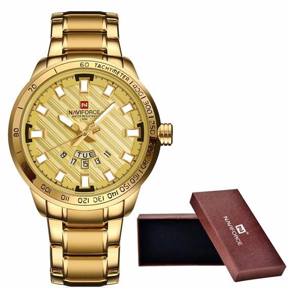 Relógio Masculino De Aço Original Dourado Luxuoso Naviforce