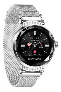 Relógio Inteligente Feminino Smart Lemdioe H2 Prata