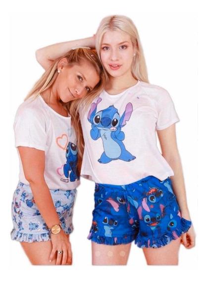 Pijama Stitch Corto Para Adultos Y Adolescentes