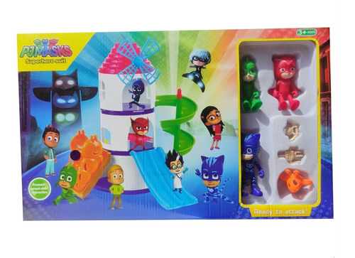 Set De Juego Torre De Pj Masks Con 3 Figuras Juguete