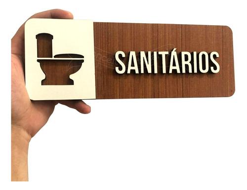 Imagem 1 de 2 de Placa Sanitários Indicativa Sinalização Banheiro Mdf