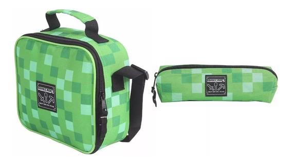 Lancheira Minecraft Escolar Kit Com Estojo Original Dmw