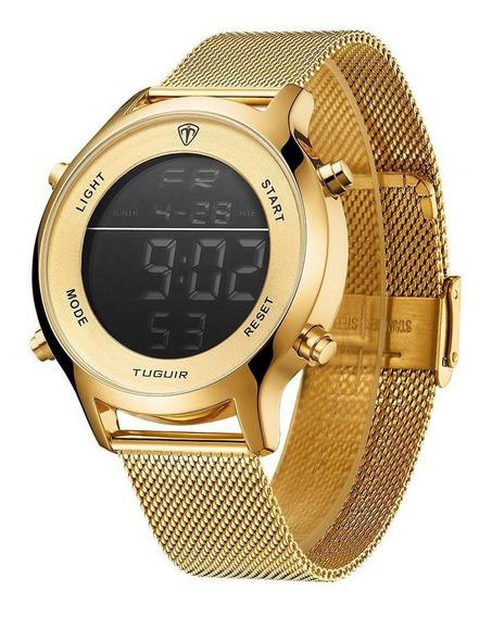 Relógio Masculino Original Dourado Preto Prova D