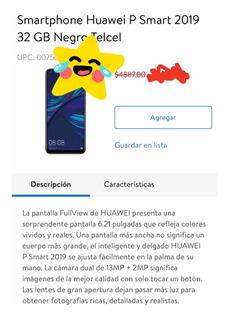 Smartphone Huawei P Smart 2019 32 Gb Negro Telcel