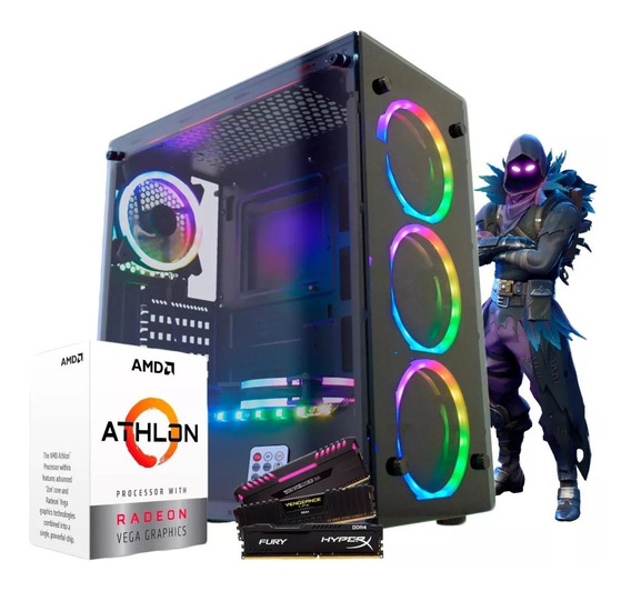 Pc Gamer Amd Athlon 200ge / Ssd 240gb / Moba Rgb / 8gb Ddr4