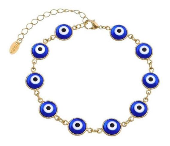 Pulseira Piuka Olho Grego Azul Folheado Ouro 18k