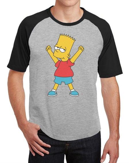 Camiseta Masculina Raglan Bart Simpson Comemorando