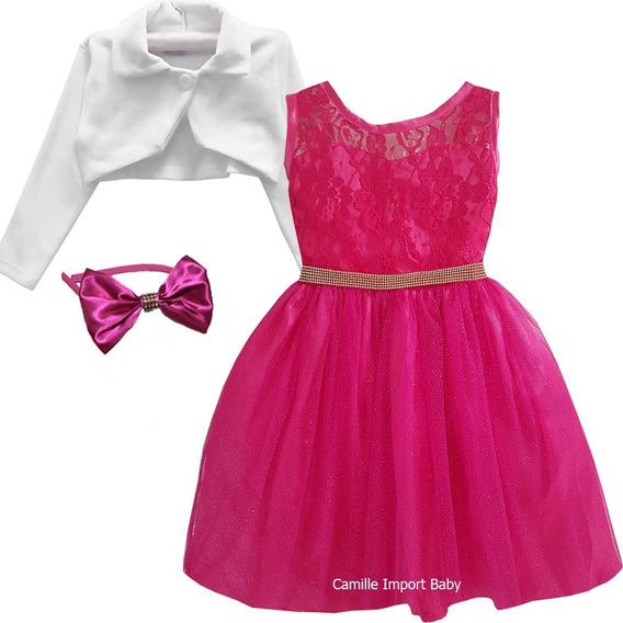 Vestidofesta Pink Brillho Barbie Paris Daminha E Bolero