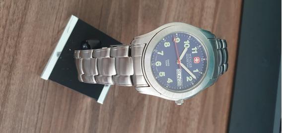 Relógio Suíço Wenger Pulseira De Aço Mostrador Azul